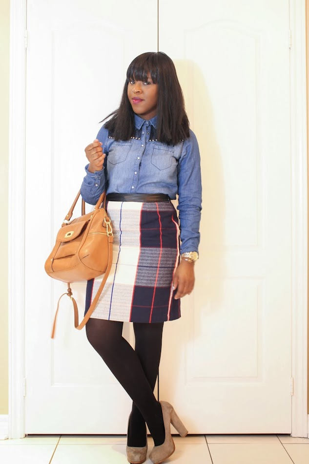 denim shirt, plaid skirt, steve madden heels
