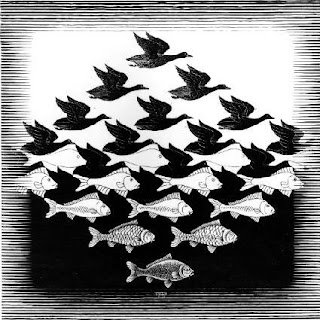 An interlocking pattern, by MC Escher