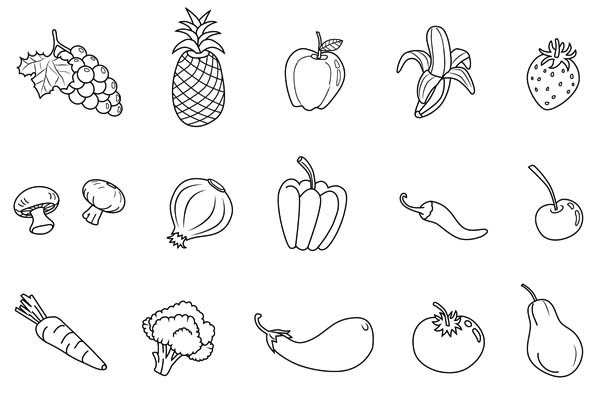 Download picture and color different fruits and vegetables for Coloring pages fruits and vegetables