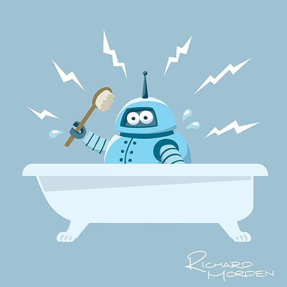 character illustration - Robot in the bath