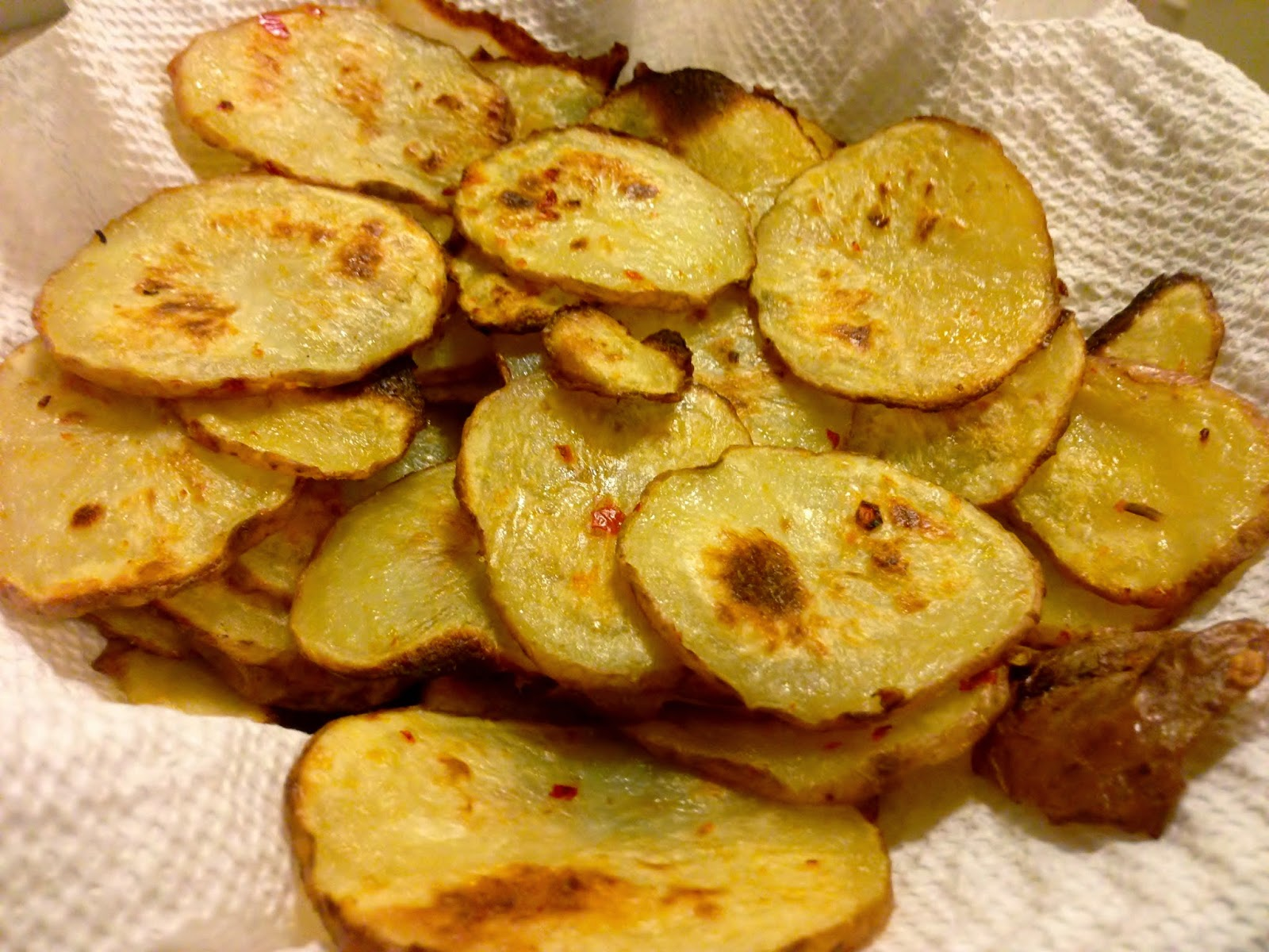 recipe: baked Sriracha potato chips