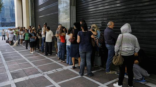 Greek ATM waiting line