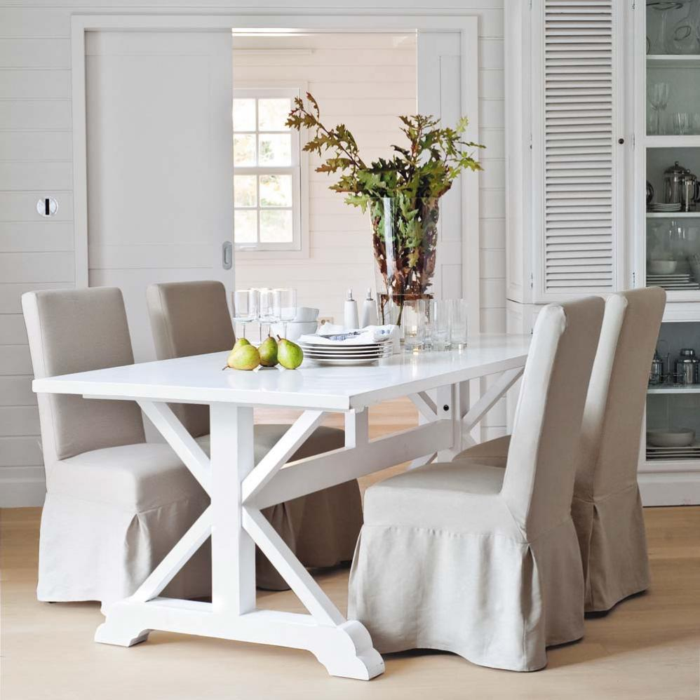 Mesas de madera blanca ideas para decorar dise ar y for Mesas de cocina blancas y madera
