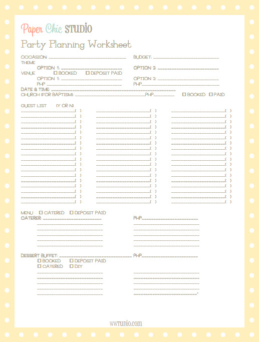Paper Chic Studio Party Planning Worksheet - Beta Version | Apples and ...