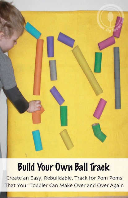 Cardboard Creations - DIY Easy Rebuildable Ball Run Track for Pom Poms that Toddlers can make again and again