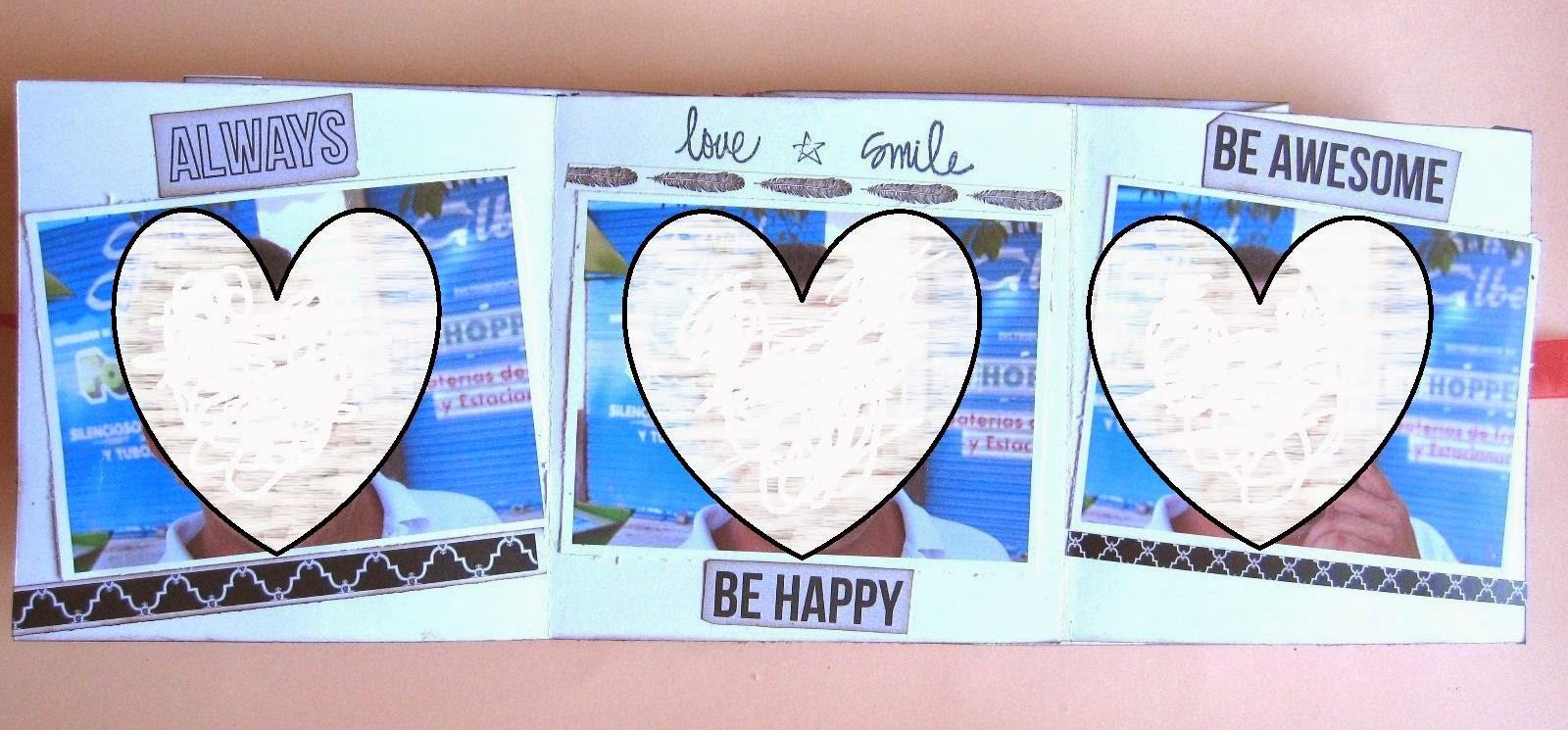 foto 10 decoración interior LOVE mini-album con tarjeta tríptico completamente abierta con fotos en su interior y decorada con sellos