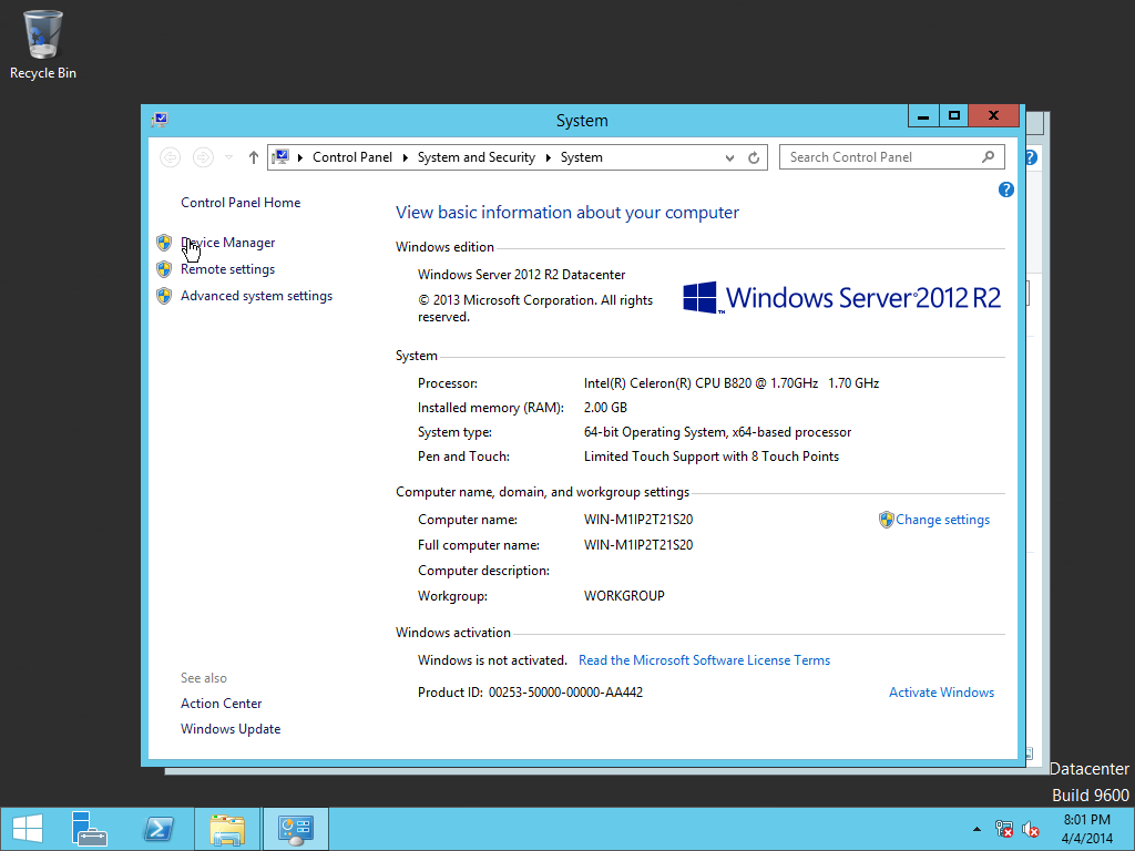 Windows Server 2012 R2 with Update