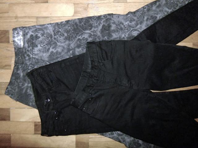 old jeans, trousers, spray, diy, repainted, black