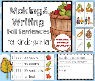 Fall Center Making Sentences for Kindergarten