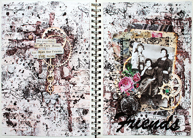 [ Vintage art-journal double page ] @marinasyskova #scrapbooking #mixedmedia #artjournal