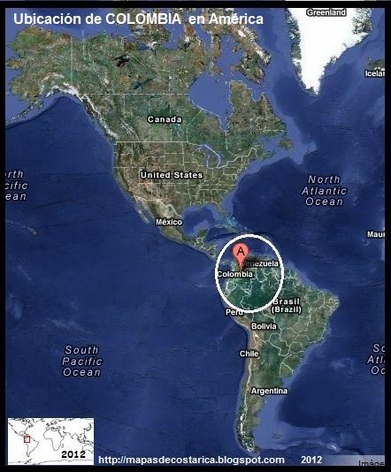 América. Ubicación de COLOMBIA en América, Vista Satelital