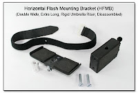 Horizontal Flash Mounting Bracket (HFMB Dbl Wide), Rigid Umbrella Riser, Spigot Mounting (Disassembled)