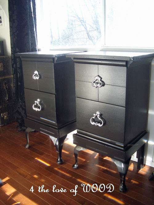 4 The Love Of Wood Twins Pair Of Black Night Stands