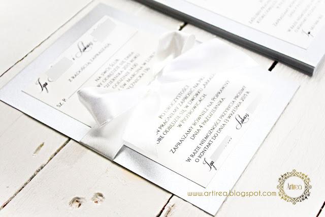 srebrne zaproszenie ślubne Artirea