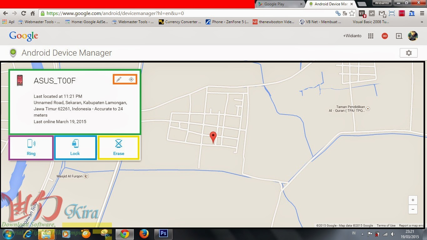 Halaman Android Device manager wd-kira