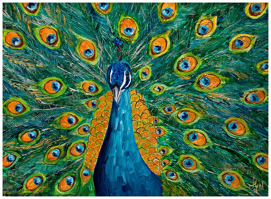 from my canvas proud peacock acrylic painting