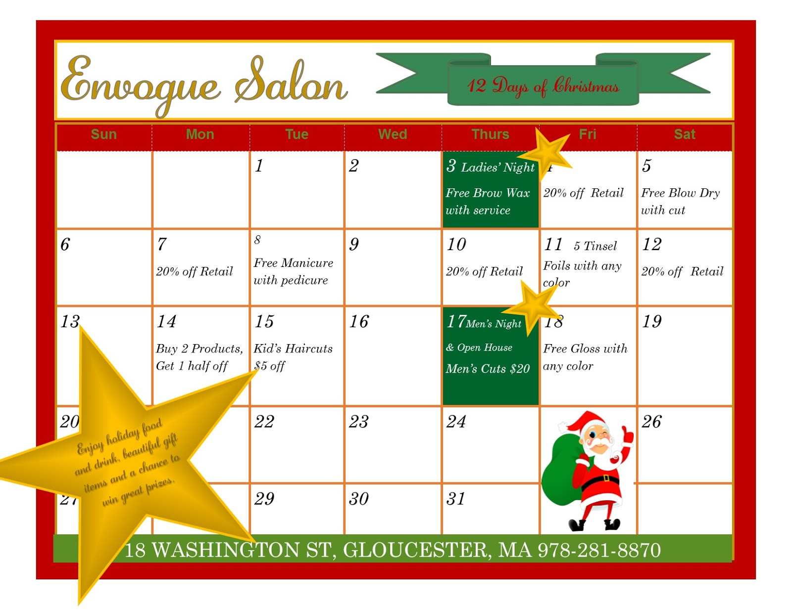 Envogue salon gloucester 2015 for 12 days of christmas salon specials