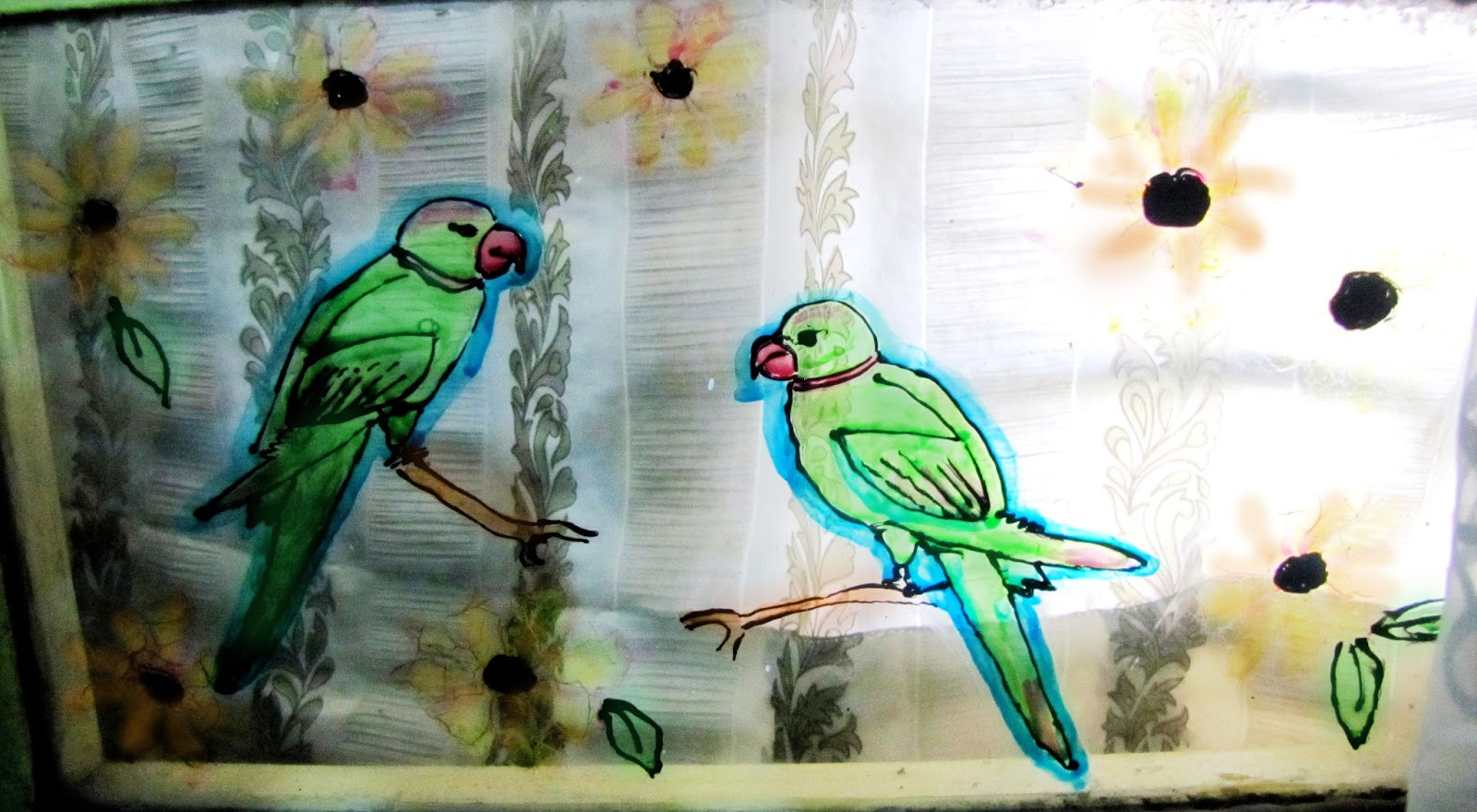 HOBBY IDEAS Glass Painting Ideass Part 5 Birdieeeee Parrots And Sunflowers