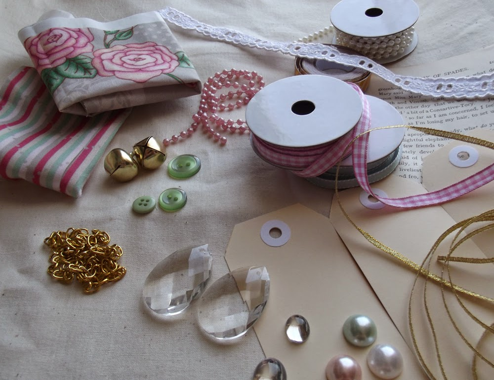 ribbon fabric buttons chain tags chandelier lace beads bells