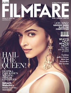 Deepika Padukone on the cover page of Filmfare Magazine January 2016 Issue
