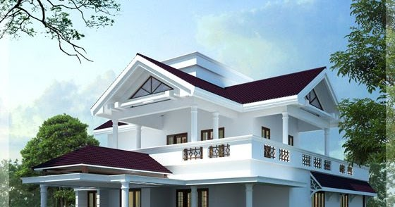 Feet Modern Sloping Roof Home Design Indian