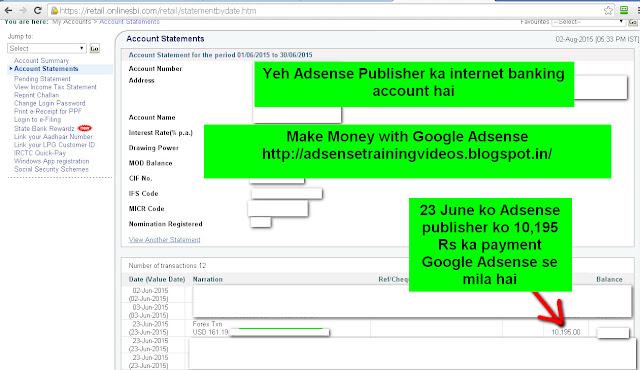 23 June 2015 ko Google Adsense publisher ko 10,195 Rs ka payment mila.Dekhiye Adsense publisher ka internet banking account