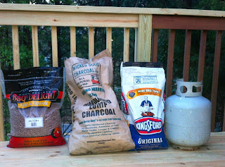 Pellets for grill, lump charcoal, briquettes, propane for grilling