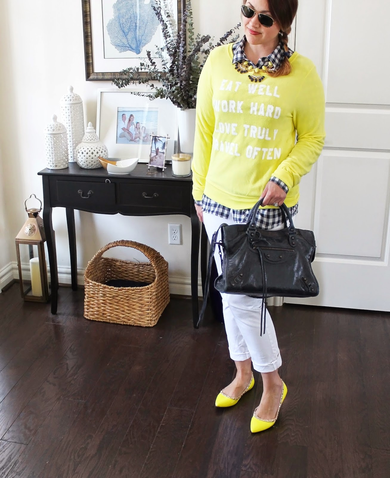 Wildfox, Balenciaga, Navy, Yellow, Valentino Rockstud Flats, White Loft Jeans