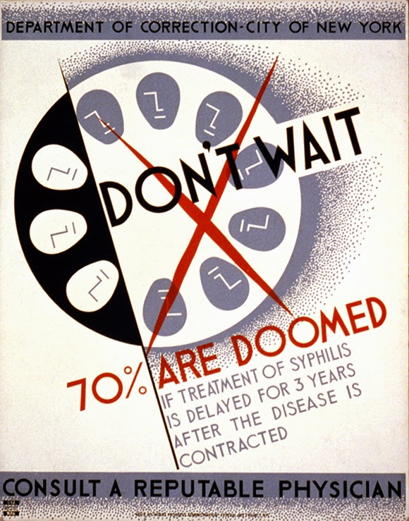 advertising, art, classic posters, free download, free printable, graphic design, printables, public health, public service announcement, retro prints, syphilis, vintage, vintage posters, vintage printables, wpa, Syphilis: Don't Wait, 70% Are Doomed - Public Health STD Vintage Poster