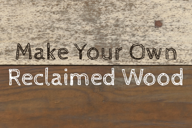 I first saw this technique for making your own faux reclaimed wood on Our  Adventures in Home Improvement - an incredibly sweet blog! - Insideways: Make Your Own Reclaimed Wood