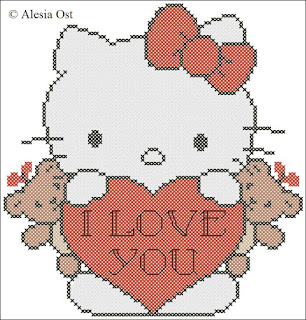 Free cross-stitch patterns, Hello Kitty, anime, animal, cat, cartoon, Valentine's day, holiday, cross-stitch, back stitch, cross-stitch scheme, free pattern, x-stitchmagic.blogspot.it, вышивка крестиком, бесплатная схема, punto croce, schemi punto croce gratis, DMC, blocks, symbols
