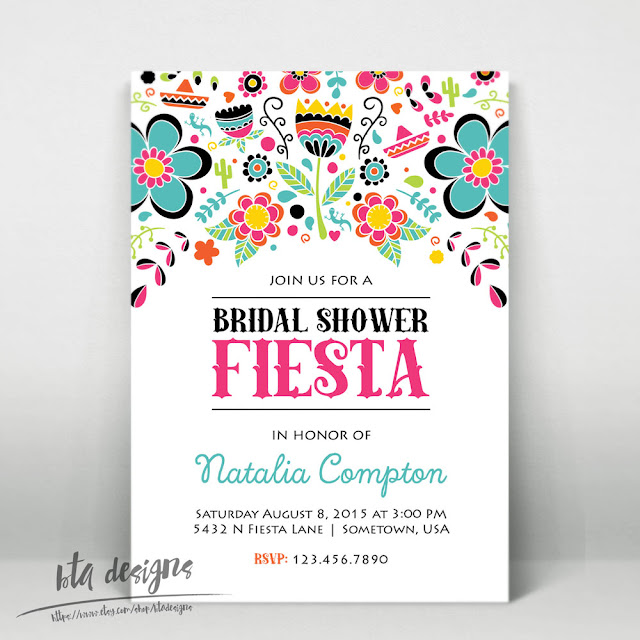 BTA Designs: Fiesta! Bridal Shower Invitations