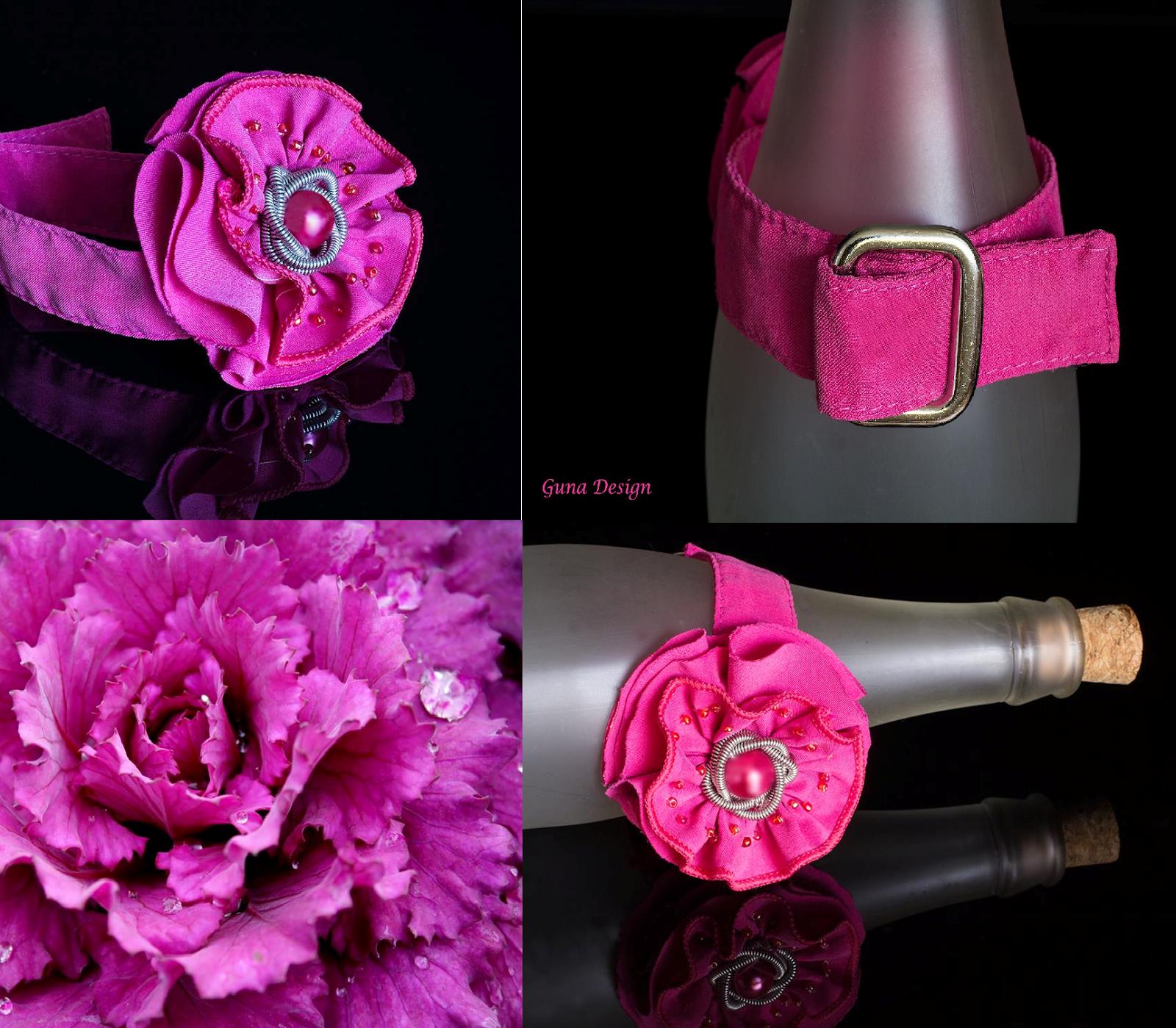 gunadesign guna andersone Pink fabric rose bracelet
