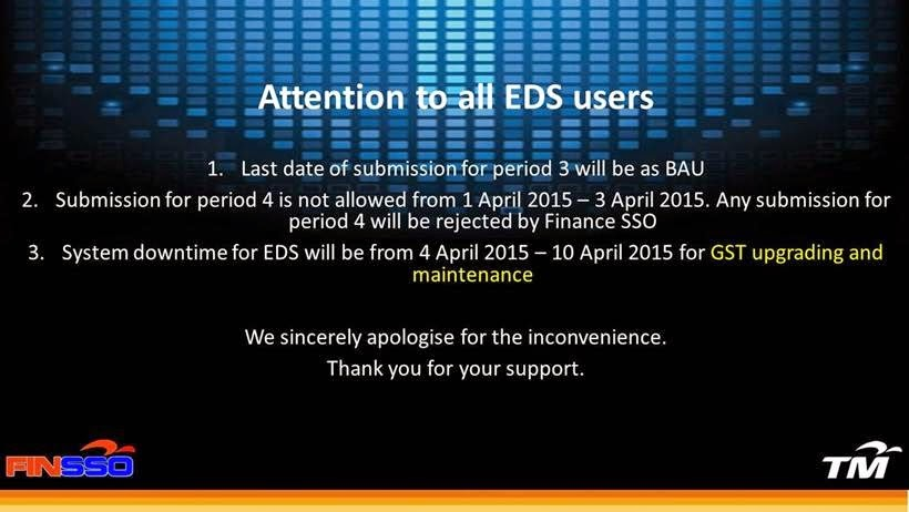 Closure of EDS System for GST Implementation