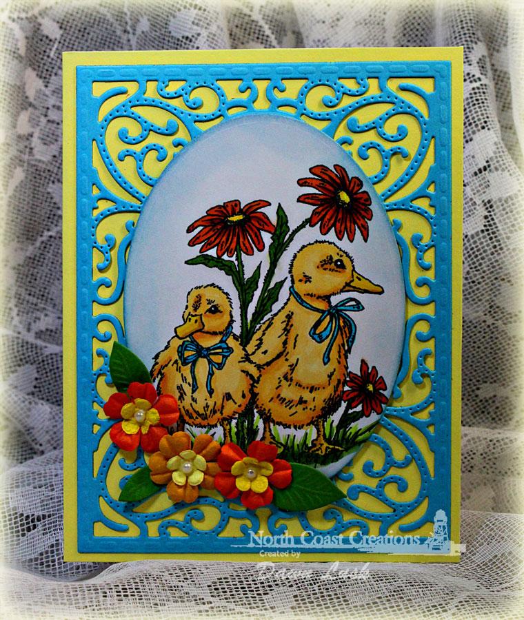 Stamps - North Coast Creations Happy Spring, ODBD Custom Vintage Flourish Pattern Die, ODBD Custom Fancy Foliage Die