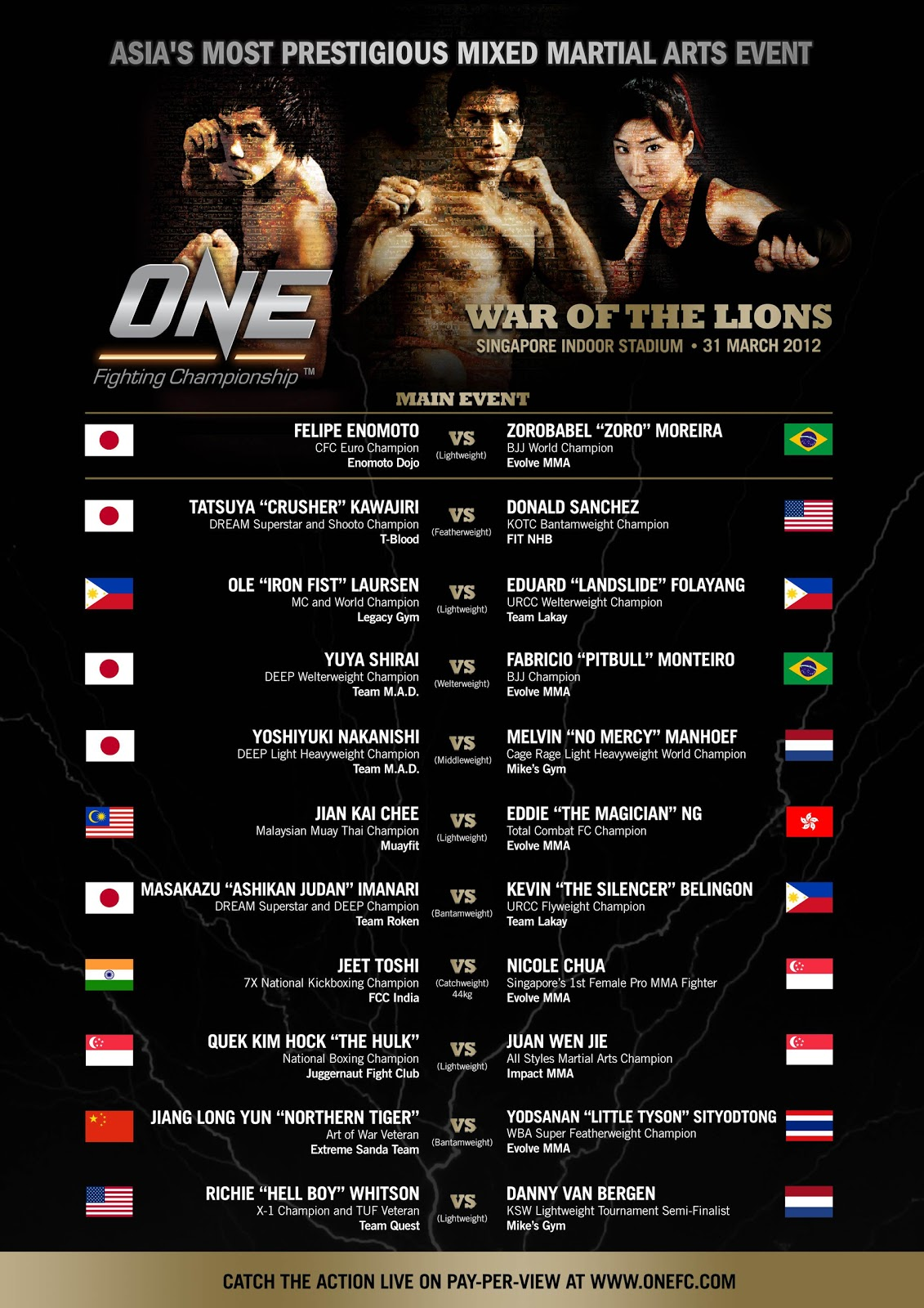MMA in Asia: ONE FC 3 COVERAGE