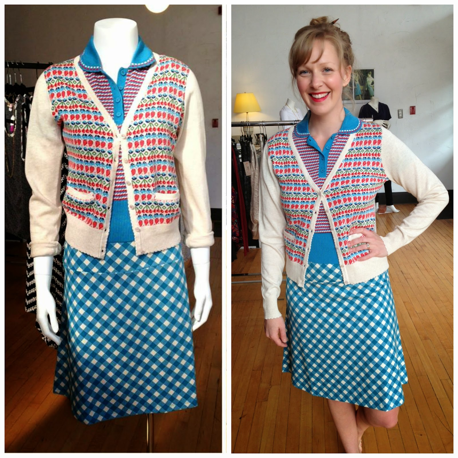 Louie et Lucie Jacky Border skirt, Pebble Polo, and Fruit V-neck Cardi at Folly