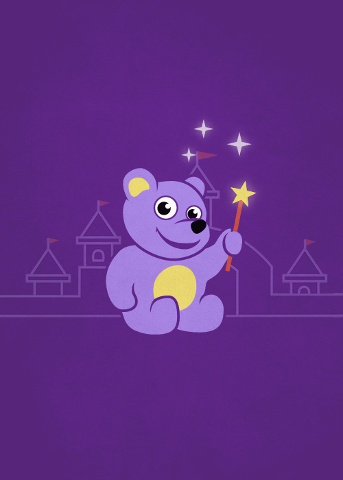 Cute purple teddy bear with magic wand kids illustration
