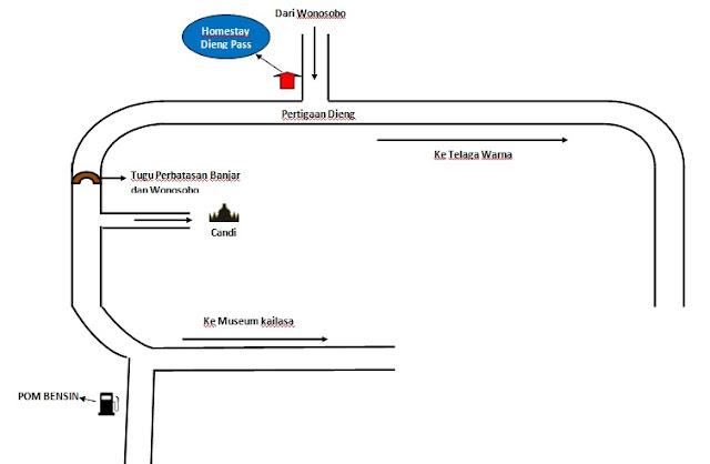peta lokasi homestay dieng pass room