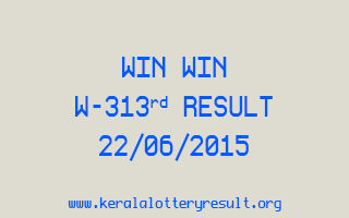 WIN WIN W 313 Lottery Result 22-6-2015