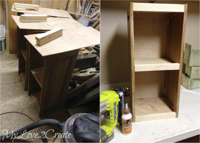 Glue and nail on desk backs and 1x2 front trim