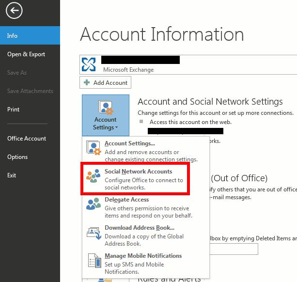 Outlook 2013. - davanje naloga na društvenim mrežama
