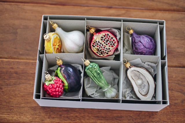 Christmas tree ornaments food themed fruit vegetable cabbage pomegranate oyster