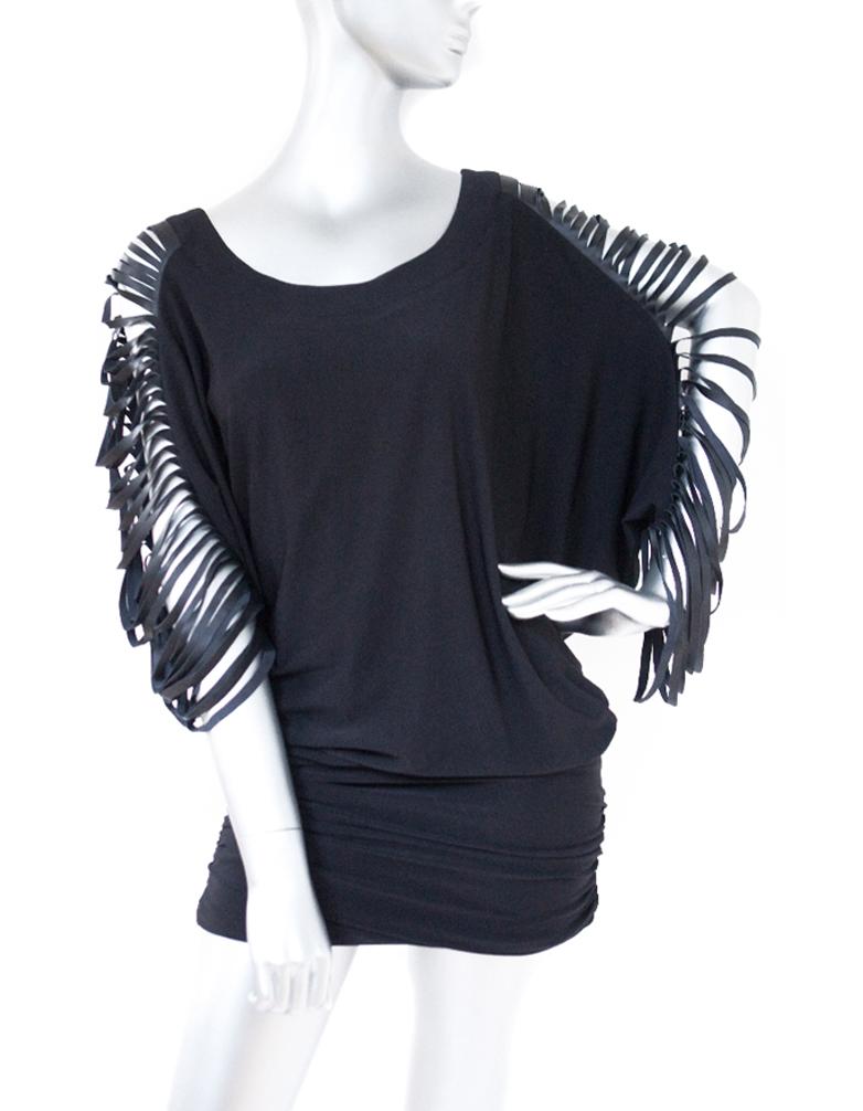 cecilia de bucourt cdbstore leather multi cut black party dress