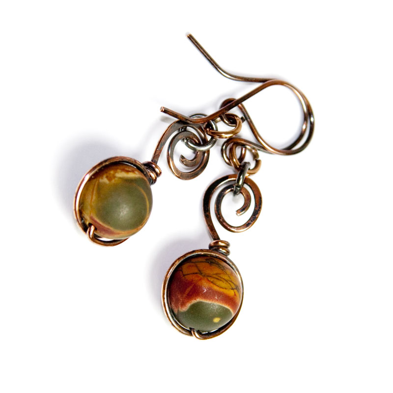 Picasso Jasper Rounds on Spiral Copper Wire - Earthy Earrings ...