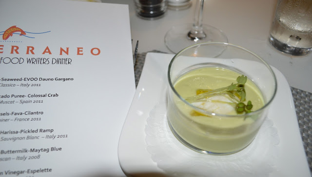 Chilled Cucumber-Avocado Purée - Colossal Crab at the Mediterraneo Restaurant