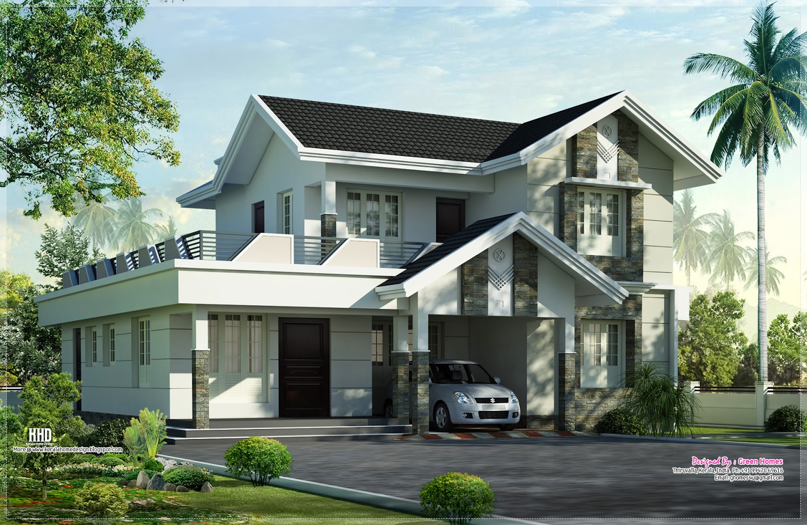 1975 nice home exterior design kerala home for Exterior house plans