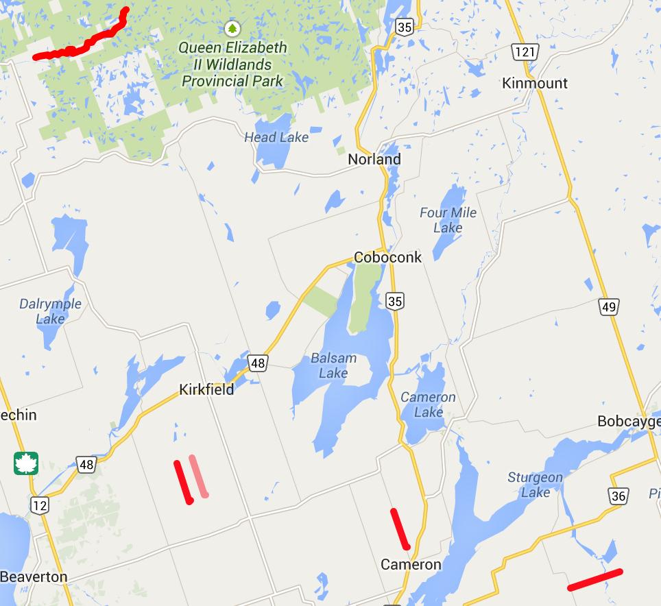 Map of City of Kawartha Lakes 2014 Road Closures screen shot linked to interactive map