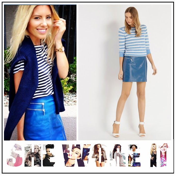 The Saturdays, Mollie King, Oasis, Fashion, Denim Blue, Leather, Mini Skirt, Silver Zip Detail