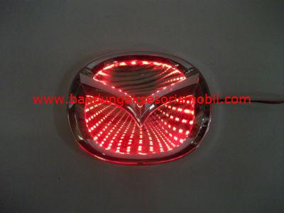 Front Logo + Lampu 3D Mazda Merah